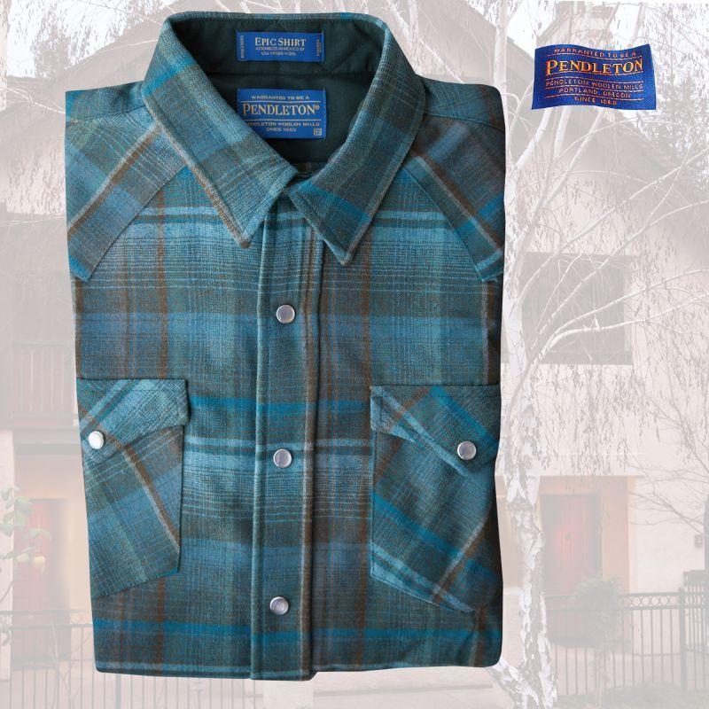 画像1: ペンドルトン ウエスタンシャツ(ブルー・ブラウン)XS/Pendleton Western Shirt