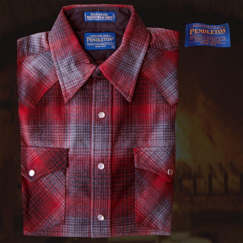 画像1: ペンドルトン ウエスタンシャツ(レッド・ブラック)/Pendleton Western Shirt