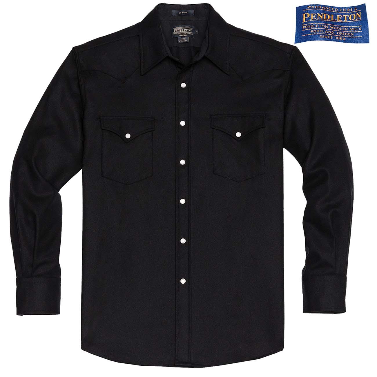 画像1: ペンドルトン ウエスタンシャツ ブラック無地/Pendleton Western Shirt