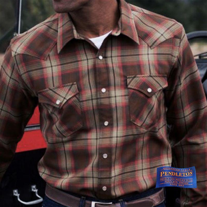 画像1: ペンドルトン サーペンドルトン フィッテッド ウエスタンシャツ(ブラウン・レッドプラッド)/Pendleton Sir Pendleton Western Shirt