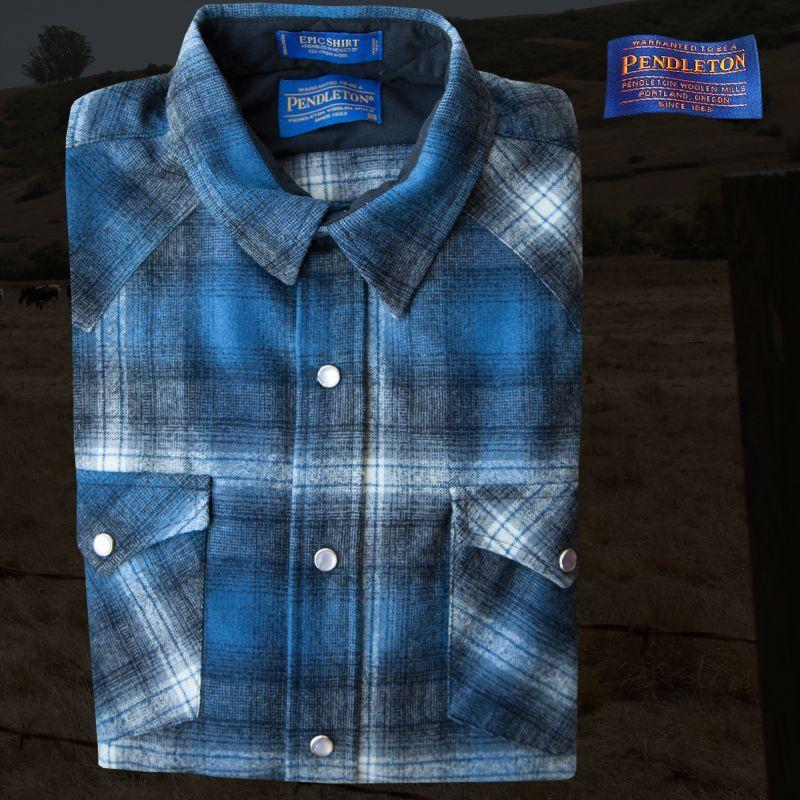 画像1: ペンドルトン ウエスタンシャツ(ブルー・ブラック)XS/Pendleton Western Shirt