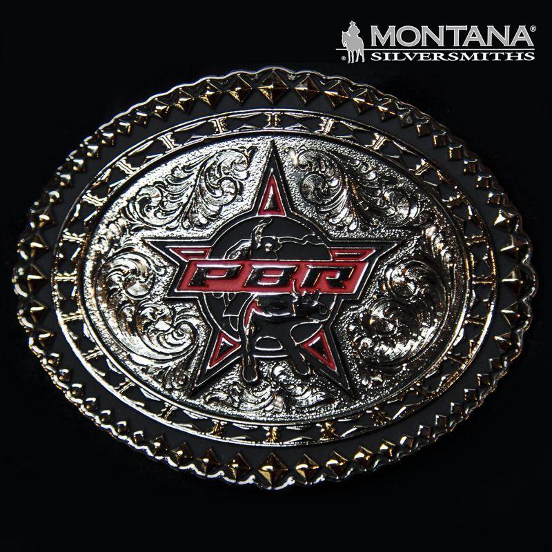 画像1: PBR モンタナシルバースミス ウエスタン ベルト バックル/Montana Silversmiths Belt Buckle (1)