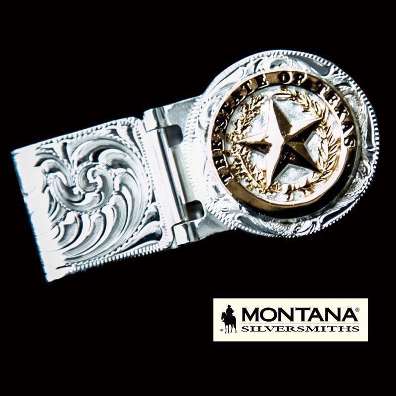 画像1: モンタナシルバースミス ウエスタン テキサススター マネークリップ(シルバー・ゴールド)/Montana Silversmiths Texas Star Hinged Money Clip