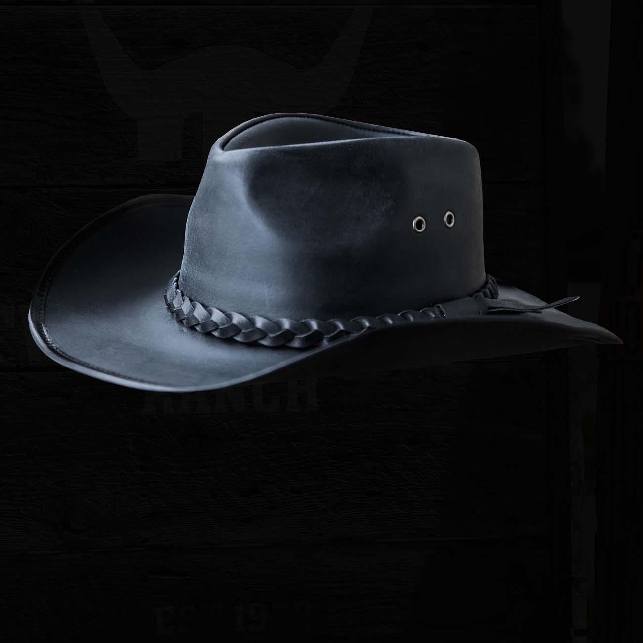 画像1: ブラック バッファロー カウボーイ ハット/Genuine Leather Cowboy Hat(Black) (1)