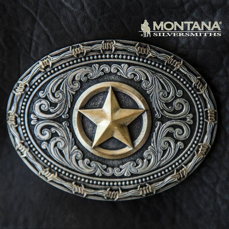 画像1: モンタナシルバースミス ウエスタン ベルト バックル テキサスローンスター・バーブドワイヤー/Montana Silversmiths Belt Buckle