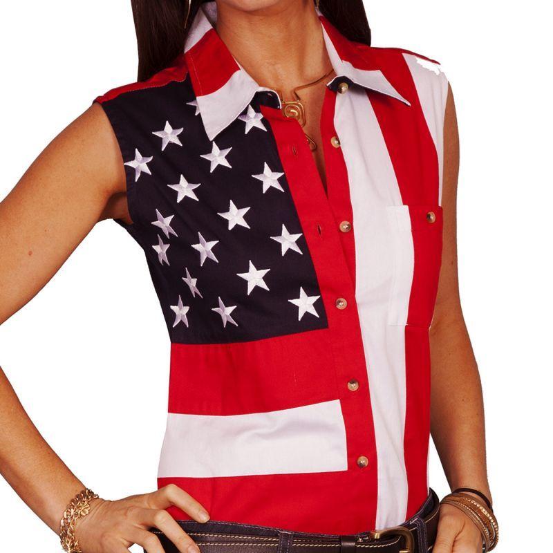 画像1: スカリー USA アメリカ国旗 シャツ(ノースリーブ/アメリカンフラッグ)XS/Scully Western Shirt(Women's) (1)