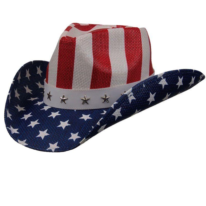 画像1: アメリカ国旗 星条旗 カウガール&カウボーイ ウエスタン ストローハット/Western Straw Hat