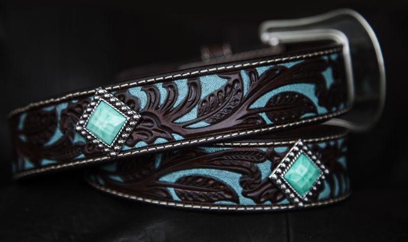 画像3: アリアット クラフト・ターコイズコンチョ レザーベルト(ブラウン・ターコイズ)/Western Leather Belt(Brown/Turquoise)