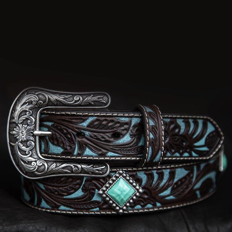 画像2: アリアット クラフト・ターコイズコンチョ レザーベルト(ブラウン・ターコイズ)/Western Leather Belt(Brown/Turquoise)