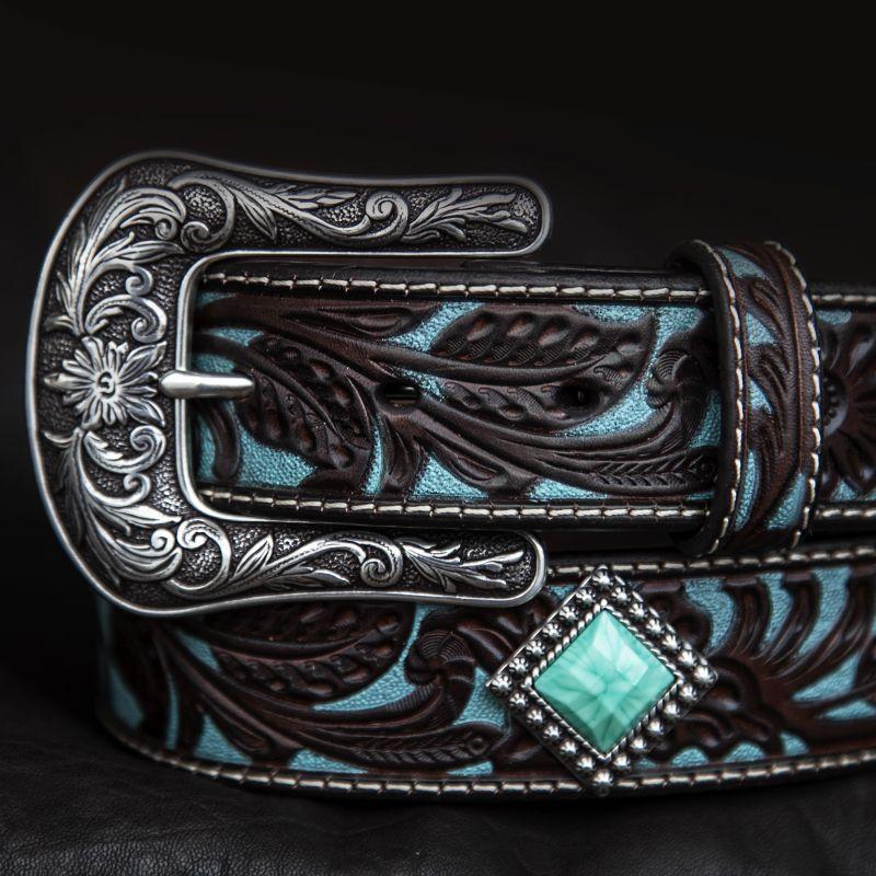 画像1: アリアット クラフト・ターコイズコンチョ レザーベルト(ブラウン・ターコイズ)/Western Leather Belt(Brown/Turquoise)