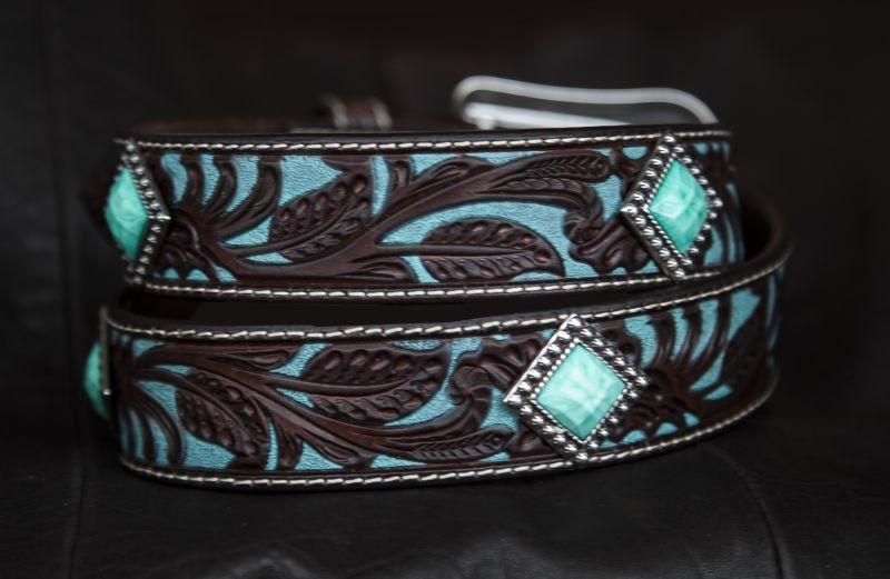 画像4: アリアット クラフト・ターコイズコンチョ レザーベルト(ブラウン・ターコイズ)/Western Leather Belt(Brown/Turquoise)