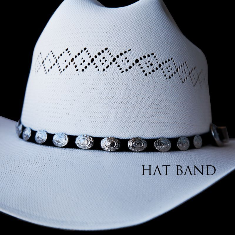 画像1: ハットバンド オーバルコンチョ・シルバー(ブラック)/Hat Band Suede w/Conchos(Black)