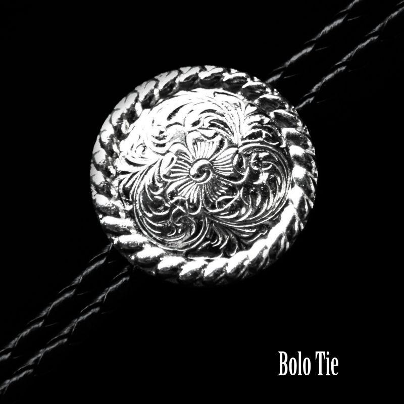 画像1: ウエスタン ボロタイ ロープエッジ&フローラル/Western Bolo Tie