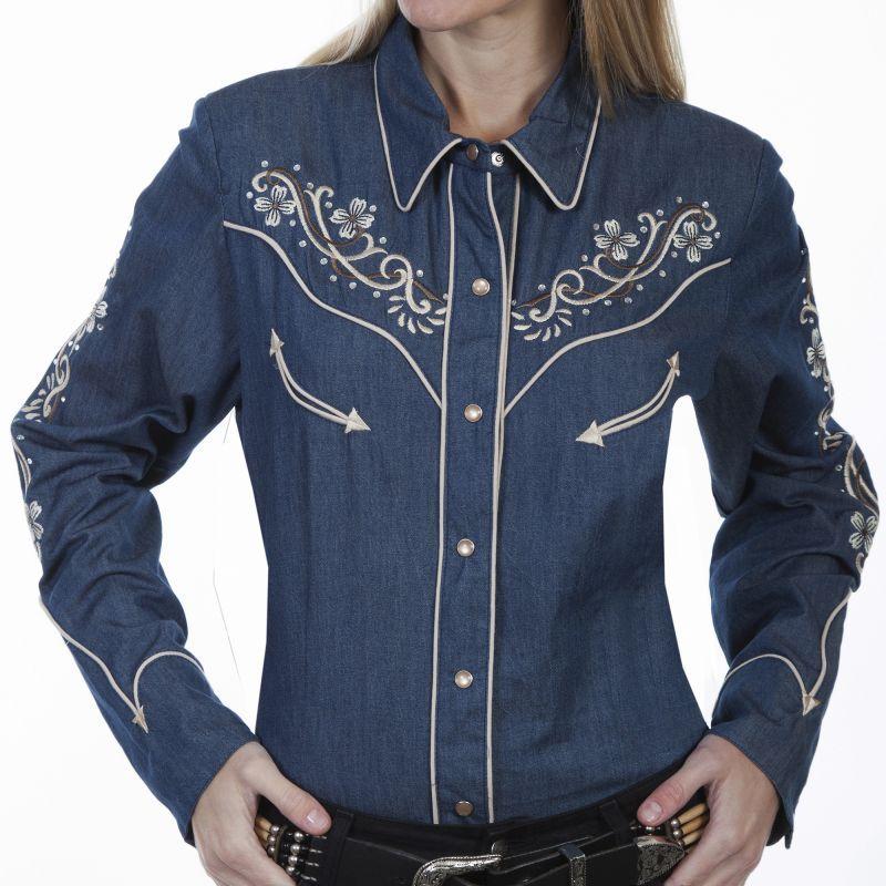 画像1: スカリー フローラル刺繍 ラインストーン ウエスタン シャツ(長袖/デニム)/Scully Long Sleeve Western Shirt(Women's) (1)