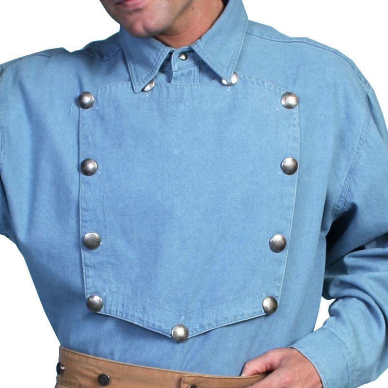 画像1: スカリー ウエスタン ビブフロント キャバルリーシャツ(長袖/デニムブルー)/Scully Range Wear Bib Front Shirt Blue(Men's)