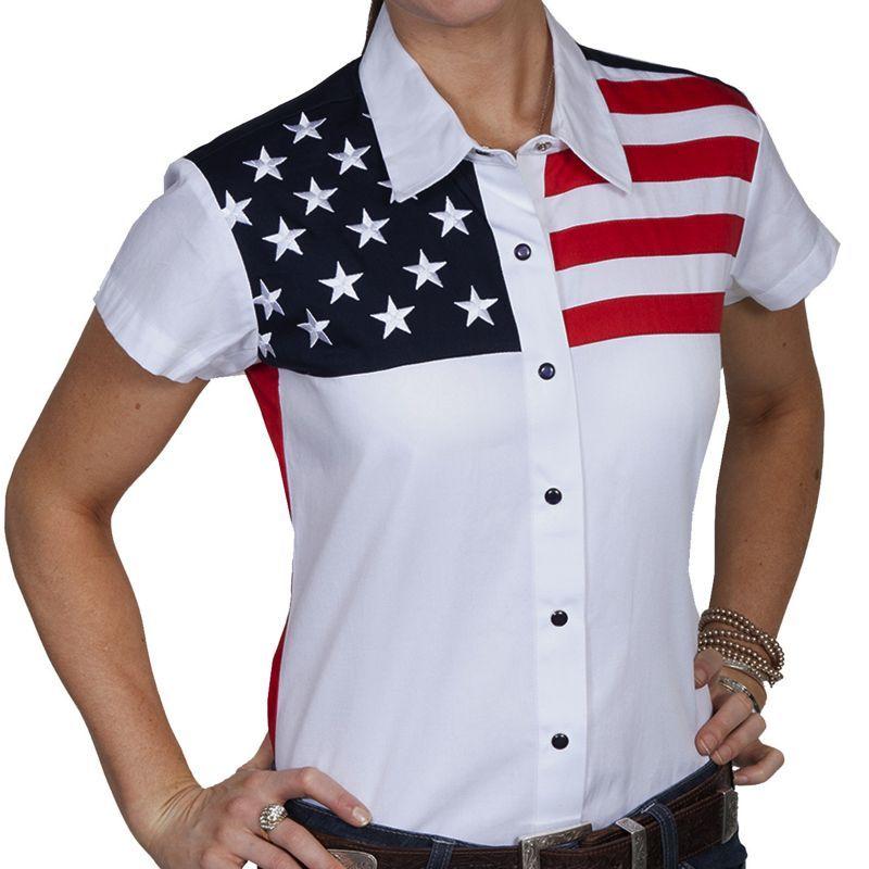 画像1: スカリー USA アメリカ国旗シャツ(キャップスリーブ/アメリカンフラッグ)/Scully Western Shirt(Women's)