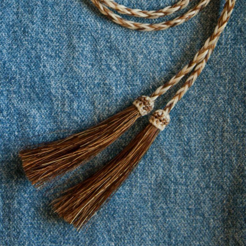 画像1: ホースヘアー スタンピード ストリングス ブラウン・ナチュラル(ハット用あごひも)/Horse Hair Stampede Strings