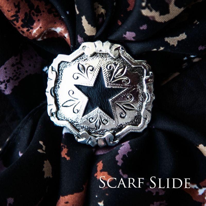 画像1: スカーフ スライド スカーフ留め 大判スカーフ ワイルドラグ用(ブラックスター・シルバー)/Scarf Slide