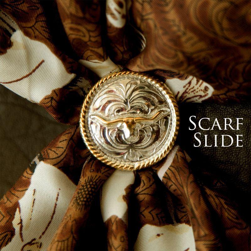 画像1: スカーフ スライド スカーフ留め 大判スカーフ ワイルドラグ用(ロングホーン・ロープエッジ)/Scarf Slide