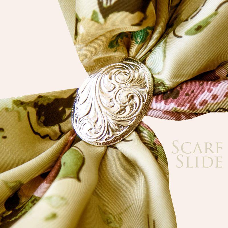 画像1: スカーフ スライド スカーフ留め 大判スカーフ ワイルドラグ用(オーバル・シルバー)/Scarf Slide