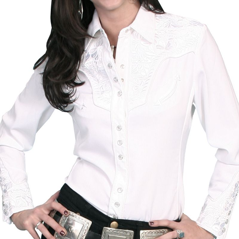 画像1: スカリー 刺繍 ウエスタン シャツ(長袖/ホワイト・ホワイト)/Scully Long Sleeve Western Shirt(Women's)