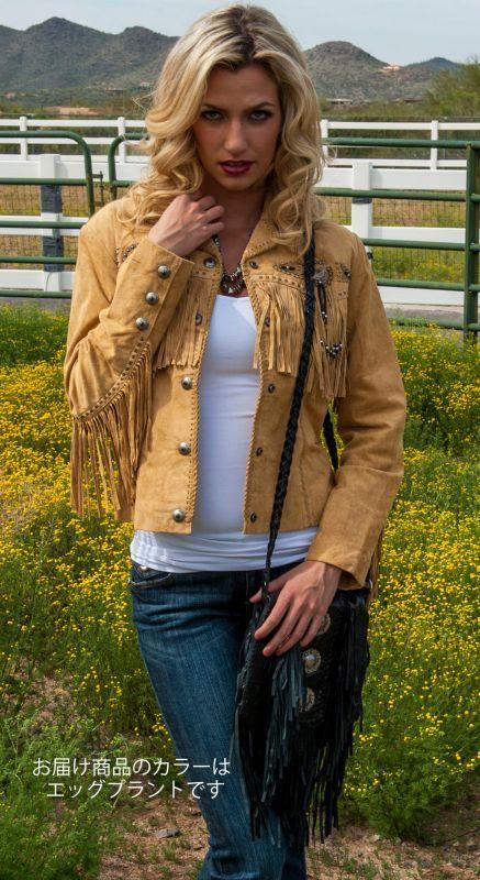 画像5: スカリー レディース フリンジ ビーズ レザー ジャケット(エッグプラント)/Scully Leather Fringe Jacket(Women's)