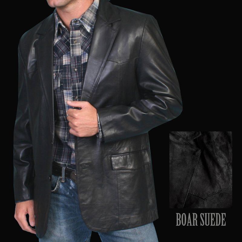 画像1: スカリー レザー ジャケット(ブラック・ボアースエード)40/Scully Boar Suede Blazer(Black)