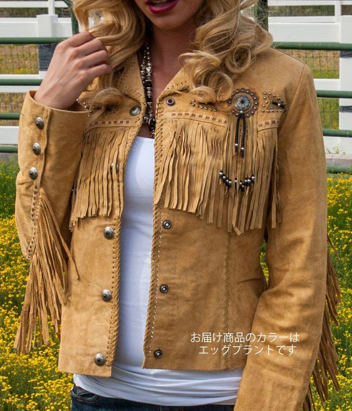 画像3: スカリー レディース フリンジ ビーズ レザー ジャケット(エッグプラント)/Scully Leather Fringe Jacket(Women's)