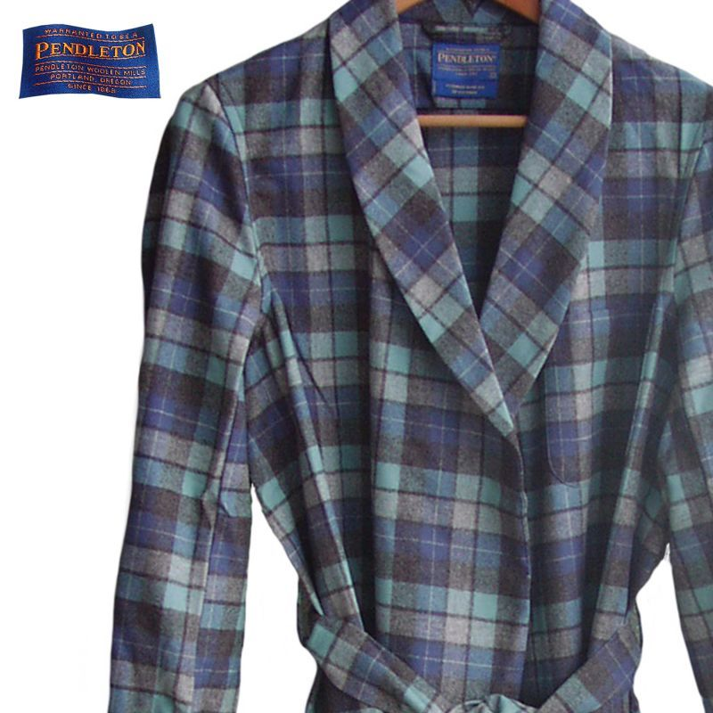 画像1: ペンドルトン ガウン(ビーチボーイズ)/Pendleton Washable Whisper Wool Robe Beach Boys Plaid (1)