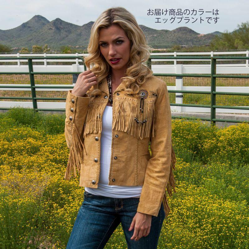 画像4: スカリー レディース フリンジ ビーズ レザー ジャケット(エッグプラント)/Scully Leather Fringe Jacket(Women's)