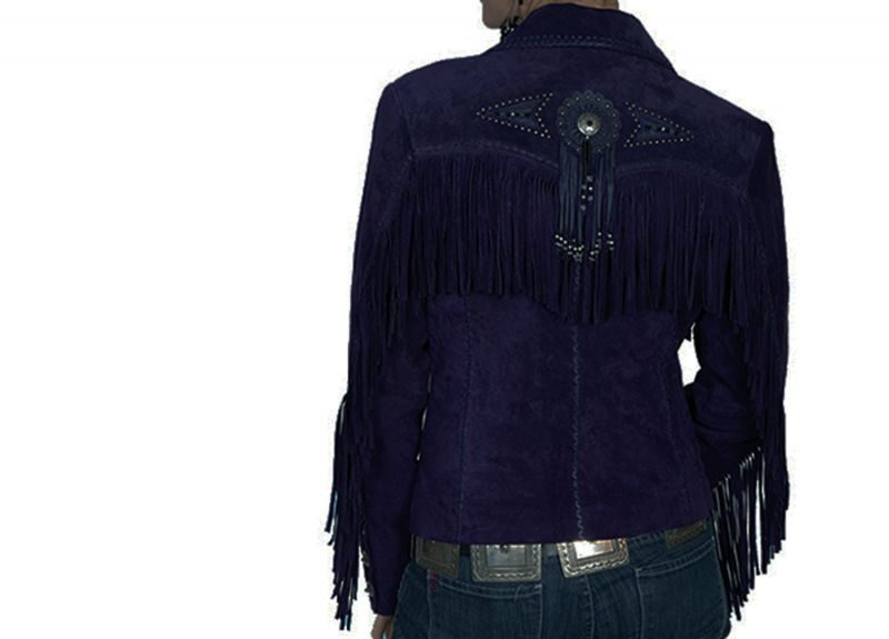 画像2: スカリー レディース フリンジ ビーズ レザー ジャケット(エッグプラント)/Scully Leather Fringe Jacket(Women's)