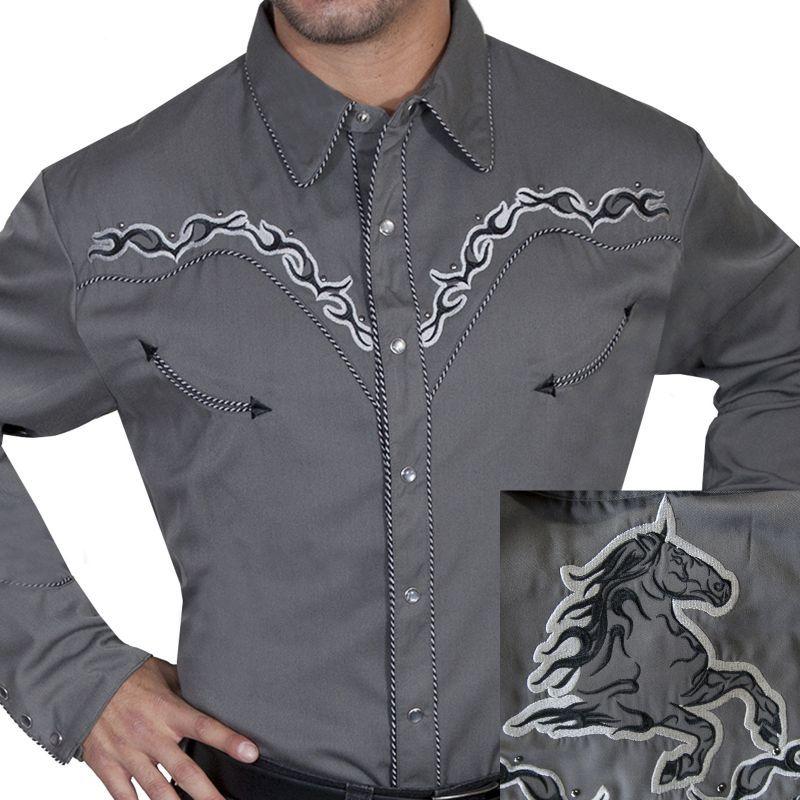 画像1: スカリー ホース ウエスタン 刺繍 シャツ(長袖/チャコール)L/Scully Long Sleeve Embroidered Western Shirt(Men's)