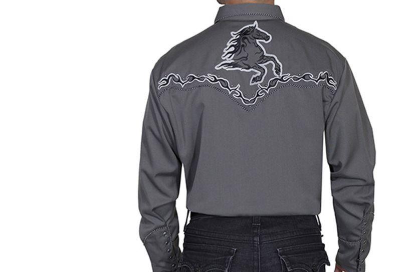 画像3: スカリー ホース ウエスタン 刺繍 シャツ(長袖/チャコール)L/Scully Long Sleeve Embroidered Western Shirt(Men's)