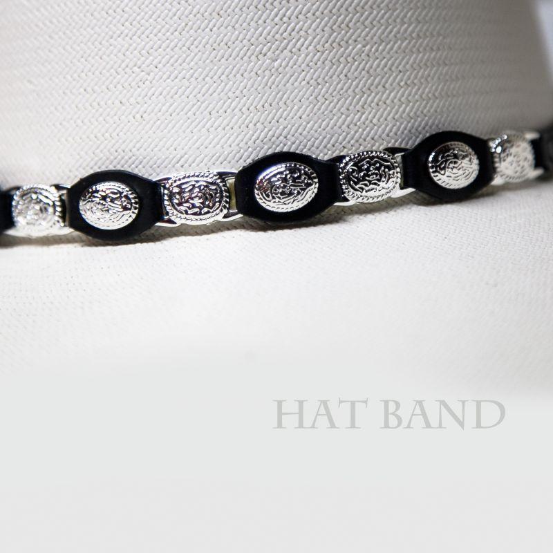 画像2: レザー ハットバンド(シルバーコンチョ&シルバーリンク・ブラック)/Hat Band(Slver Concho&Link)