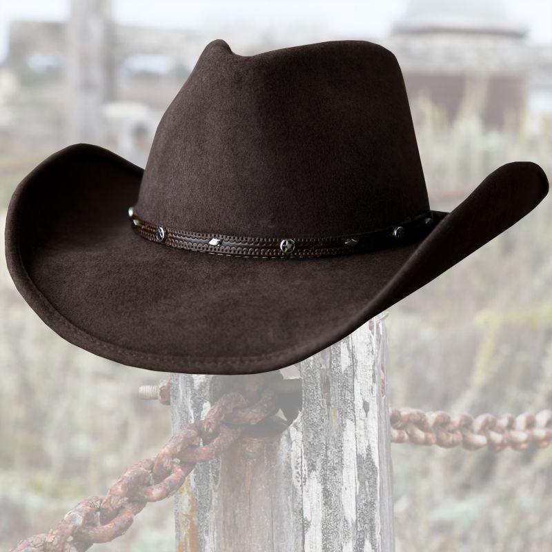画像1: ウール カウボーイ ハット(スター ブラウン)/Western Wool Hat