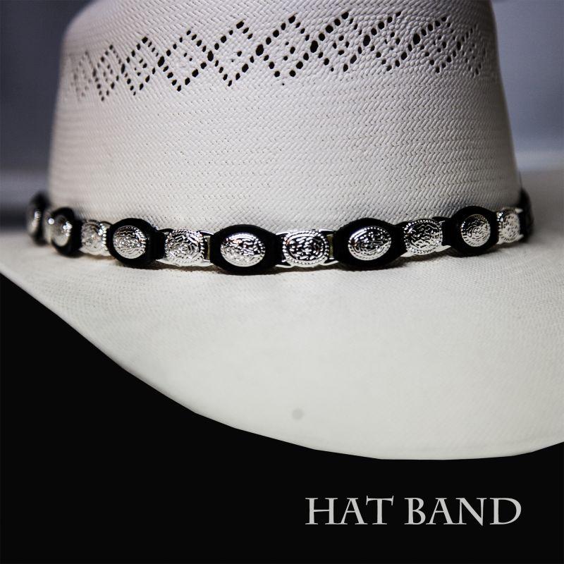 画像1: レザー ハットバンド(シルバーコンチョ&シルバーリンク・ブラック)/Hat Band(Slver Concho&Link)