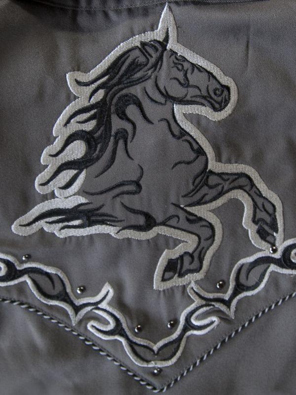 画像2: スカリー ホース ウエスタン 刺繍 シャツ(長袖/チャコール)L/Scully Long Sleeve Embroidered Western Shirt(Men's)