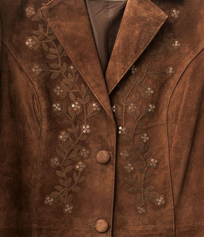 画像2: スカリー フローラル刺繍 レザー コート(シナモン)/Scully Leather Coat Cinnamon(Women's)