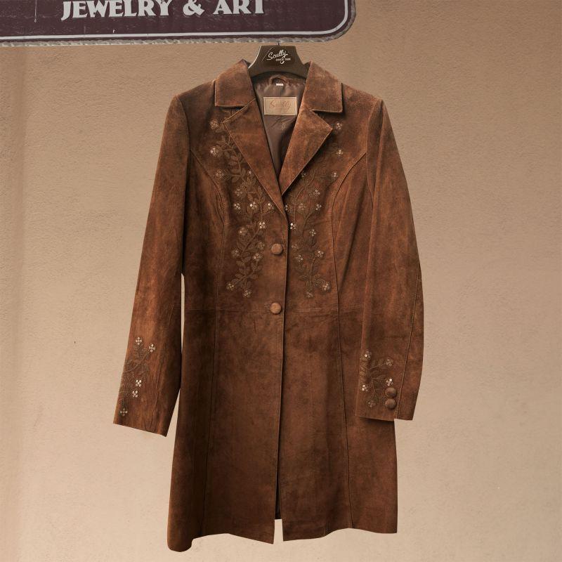 画像1: スカリー フローラル刺繍 レザー コート(シナモン)/Scully Leather Coat Cinnamon(Women's)