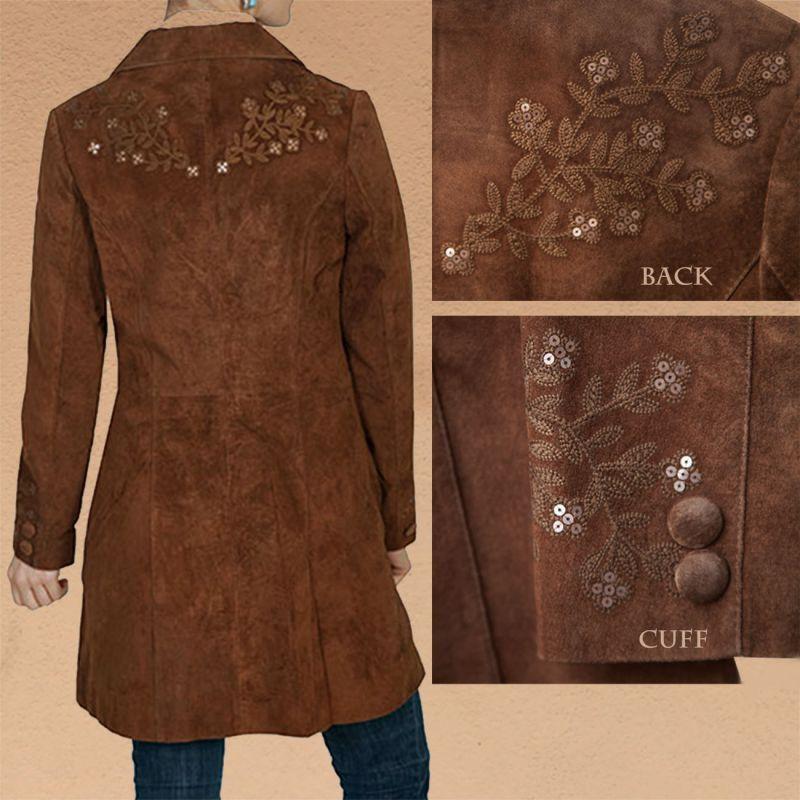 画像3: スカリー フローラル刺繍 レザー コート(シナモン)/Scully Leather Coat Cinnamon(Women's)