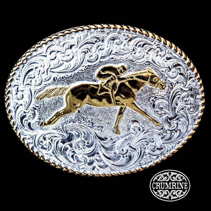 画像1: クラムライン ベルト バックル ホース(ゴールド・シルバー)/Crumrine Belt Buckle(Rope Edge/Race Horse)