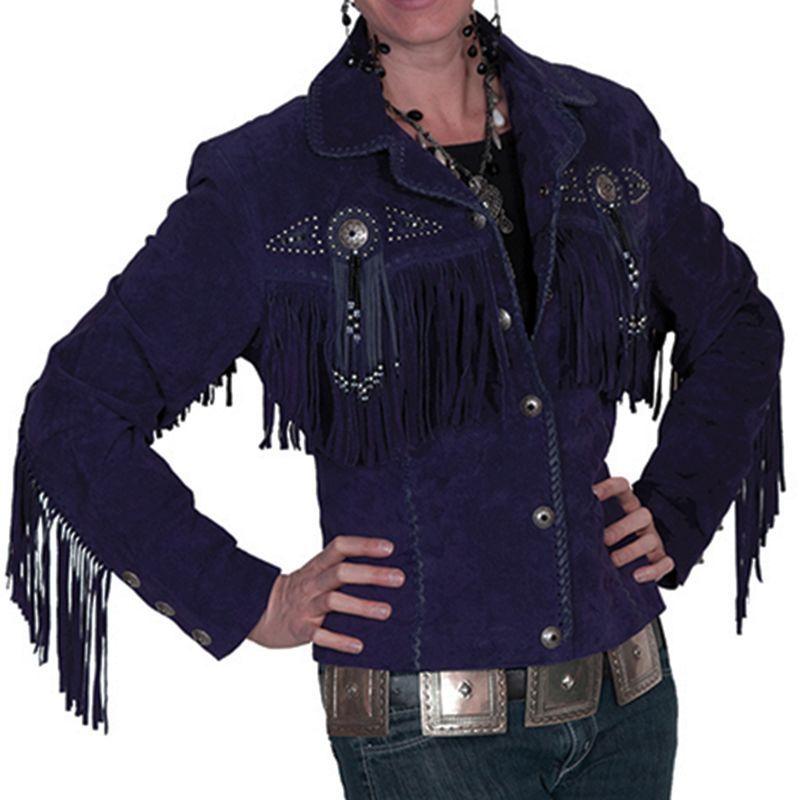 画像1: スカリー レディース フリンジ ビーズ レザー ジャケット(エッグプラント)/Scully Leather Fringe Jacket(Women's)
