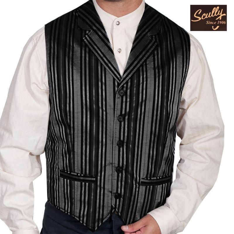 画像1: スカリー オールドウエスト ベスト(ストライプブラック)/Scully Old West Stripe Vest (Black)