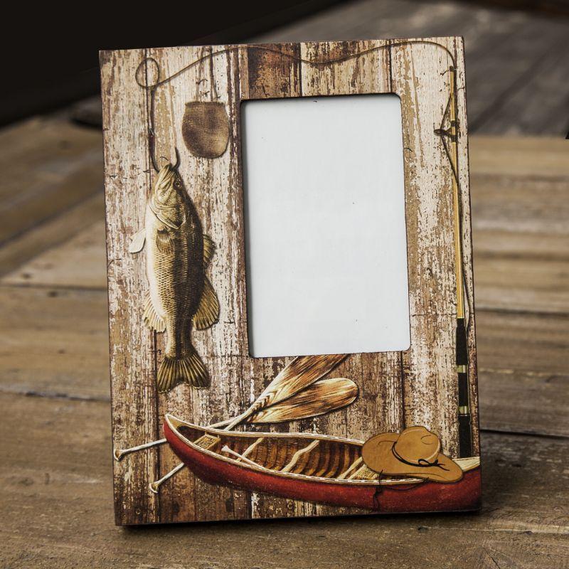画像1: フィッシング ログキャビン フォトフレーム・写真立て/Photo Frame Fishing