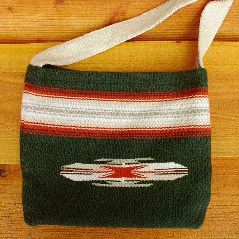 画像1: オルテガ チマヨ ショルダートートバッグ 100%ウール手織り(フォレストグリーン)/CHIMAYO ORTEGA'S HAND WOVEN 100% ALL WOOL TOTE BAG(Forest Green) (1)