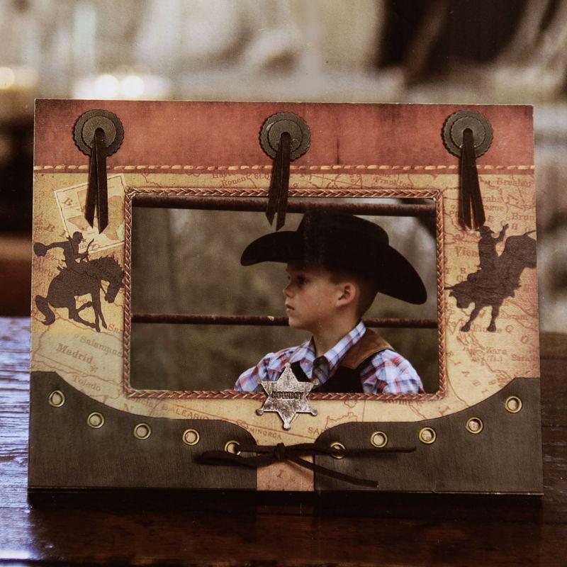 画像1: ウエスタン フォトフレーム・写真立て ブロンコ&ブル カウボーイバッジ/Western Photo Frame