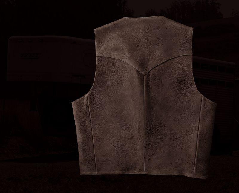 画像4: スカリー ウエスタンヨーク ラムレザー ベスト(ブラウン)/Scully Leather Vest