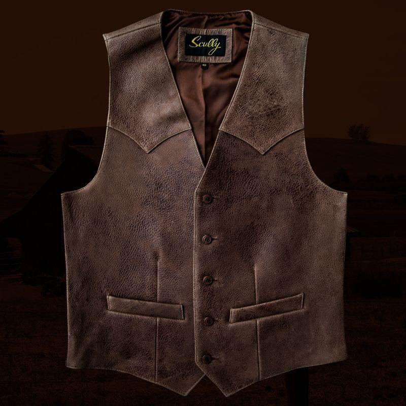 画像3: スカリー ウエスタンヨーク ラムレザー ベスト(ブラウン)/Scully Leather Vest
