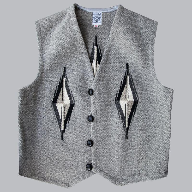 画像1: オルテガ チマヨ ベスト 46・100%ウール手織り/CHIMAYO ORTEGA'S HAND WOVEN 100% ALL WOOL VEST