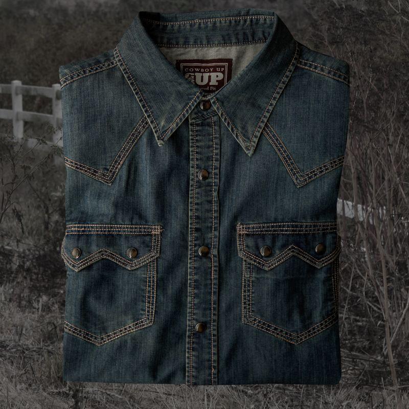 画像1: ビンテージウォッシュ ウエスタン デニム シャツ(インディゴ)/Western Denim Shirt (1)
